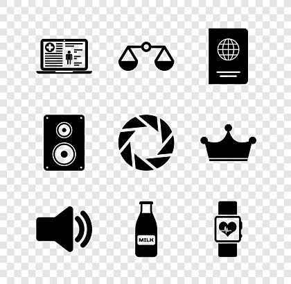 Set Medical clinical record, Scales of justice, Passport, Speaker volume, Glass bottle milk and cap and Smart watch heart beat rate icon. Vector