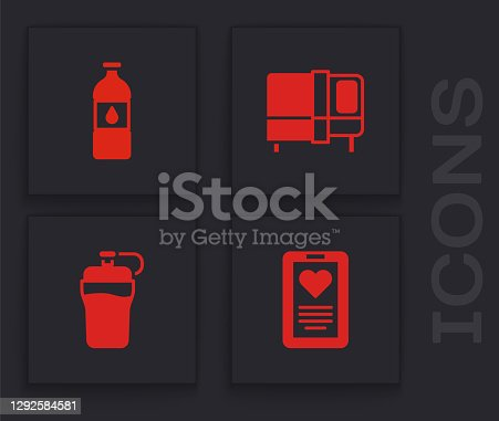 Set Medical clipboard, Bottle of water, Bed and Fitness shaker icon. Vector.