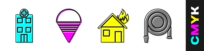 Set Medical hospital building, Fire cone bucket, Fire in burning house and Fire hose reel icon. Vector