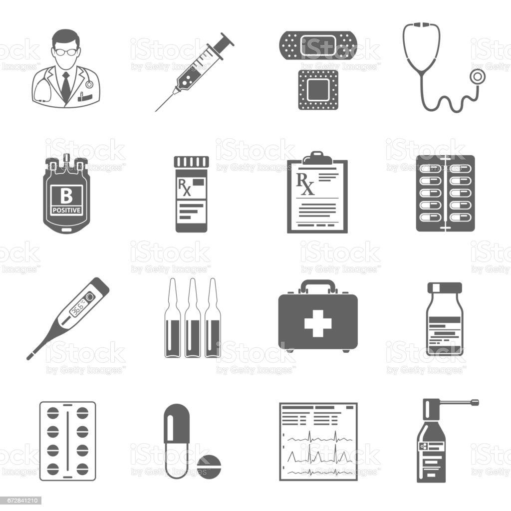 Set medical icons vector art illustration