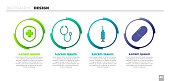 Set Medical shield with cross, Stethoscope, Syringe and Medicine pill or tablet. Business infographic template. Vector