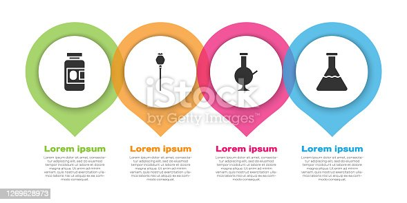 istock Set Medicine bottle and pills, Opium poppy, Glass bong for smoking marijuana and Test tube and flask. Business infographic template. Vector 1269628973