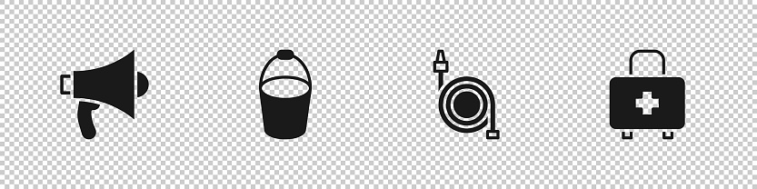 Set Megaphone, Fire bucket, hose reel and First aid kit icon. Vector