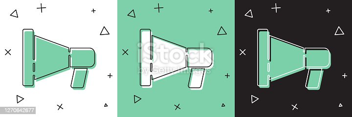 istock Set Megaphone icon isolated on white and green, black background. Speaker sign. Vector Illustration 1270642677