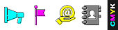 Set Megaphone, Location marker, Mail and e-mail in hand and Address book icon. Vector