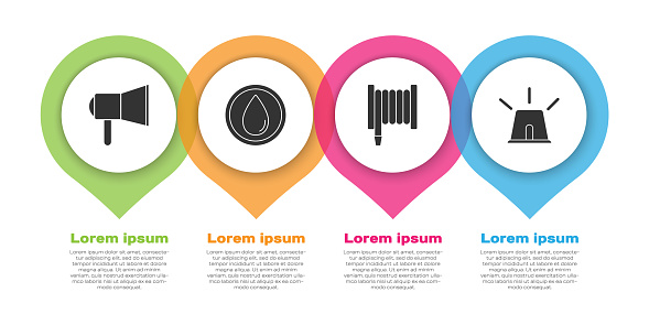Set Megaphone, Water drop, Fire hose reel and Flasher siren. Business infographic template. Vector
