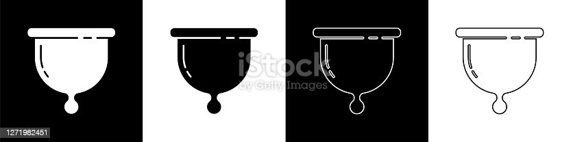istock Set Menstrual cup icon isolated on black and white background. Feminine hygiene. Protection for woman in critical days. Vector 1271982451