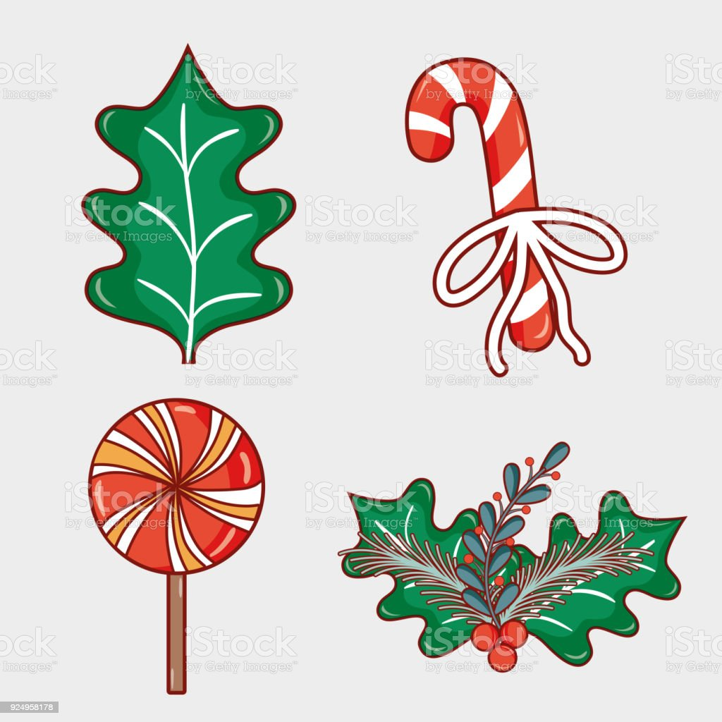 set merry christmas decoration desing to celebration vector art illustration