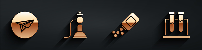 Set Messenger, Hookah, Medicine bottle and pills and Test tube and flask icon with long shadow. Vector