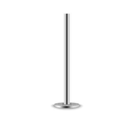 Set of metal columns.The steel element of the truss beam.Metal pole posts,steel pipes of various diameters installed are bolted on a round base isolated on a transparent background.Vector illustration