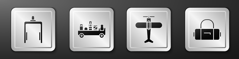 Set Metal detector in airport, Airport luggage towing truck, Plane and Suitcase icon. Silver square button. Vector
