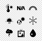 istock Set Meteorology thermometer, Not applicable, Rainbow, Storm, Weather forecast, Water drop, Sunrise and Earth globe and sun icon. Vector 1329239124