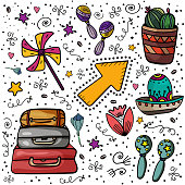 Traditional Mexican culture. Clip art set of stickers or objects for design. Tourist trip. Cactus, maracas, suitcase, symbols of Mexico.- Vector. Vector illustration