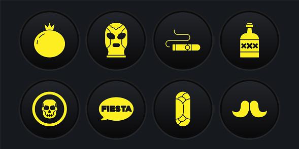 Set Mexican skull coin, Tequila bottle, Fiesta, Burrito, Cigar, wrestler, Mustache and Tomato icon. Vector
