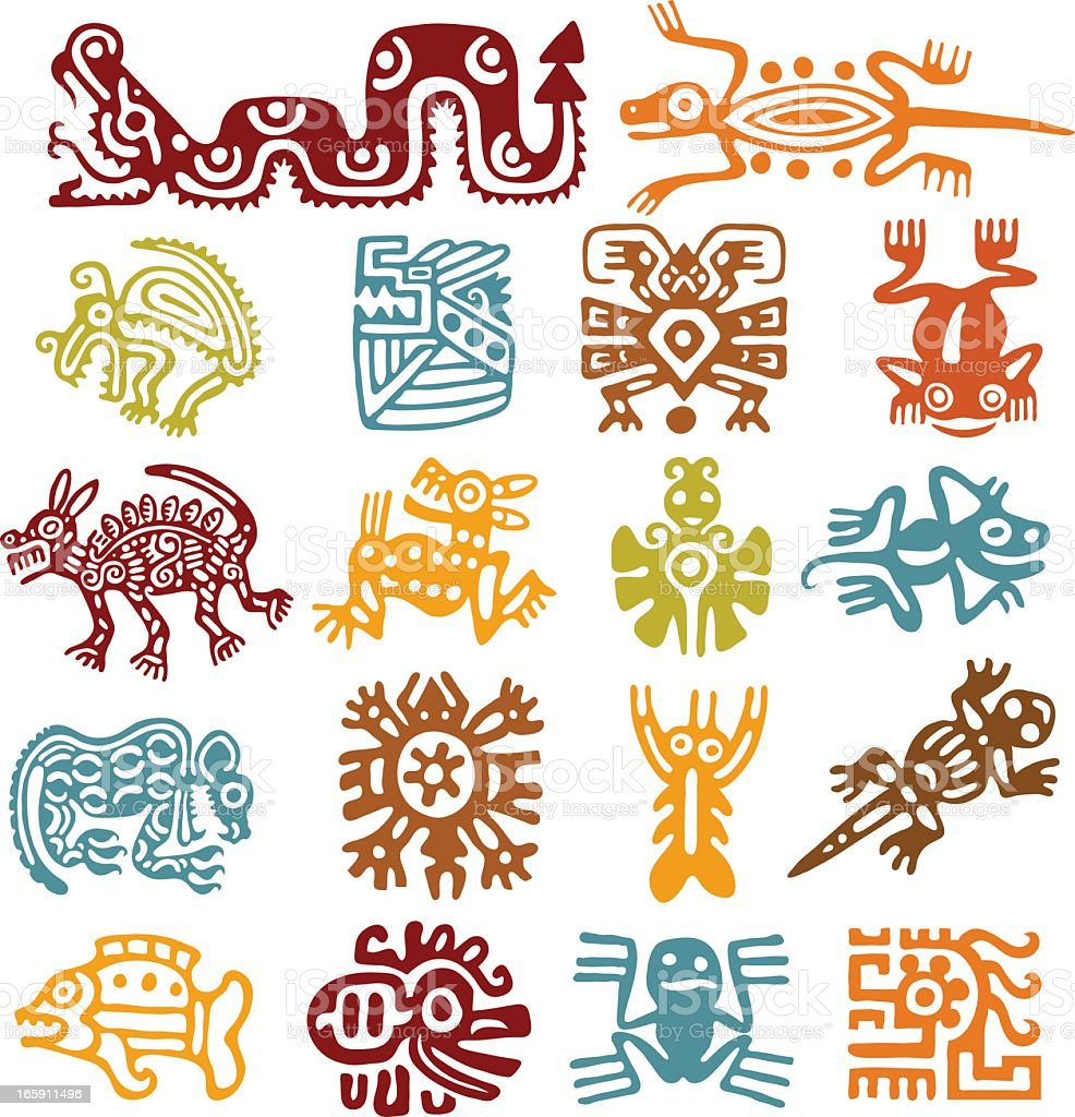 Set - mexican symbols vector art illustration