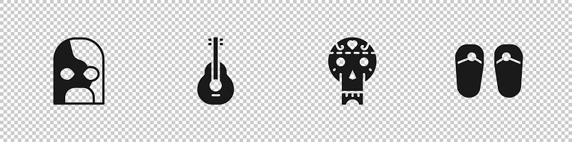 Set Mexican wrestler, guitar, skull and Flip flops icon. Vector