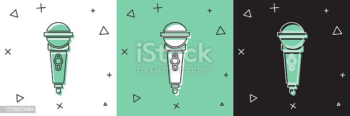 istock Set Microphone icon isolated on white and green, black background. On air radio mic microphone. Speaker sign. Vector Illustration 1223620464