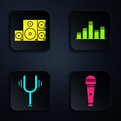 Set Microphone, Stereo speaker, Musical tuning fork and Music equalizer. Black square button. Vector