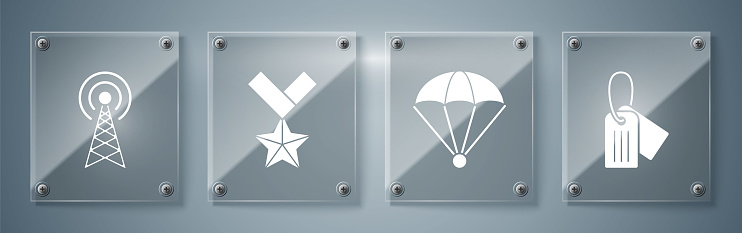 Set Military dog tag , Parachute , Military reward medal and Radar . Square glass panels. Vector