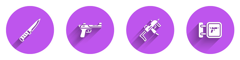 Set Military knife, Desert eagle gun, MP9I submachine and Hunting shop weapon icon with long shadow. Vector