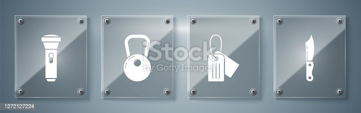 Set Military knife , Military dog tag , Kettlebell and Flashlight . Square glass panels. Vector
