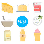 Set milk icons in flat style, on a white background, vector