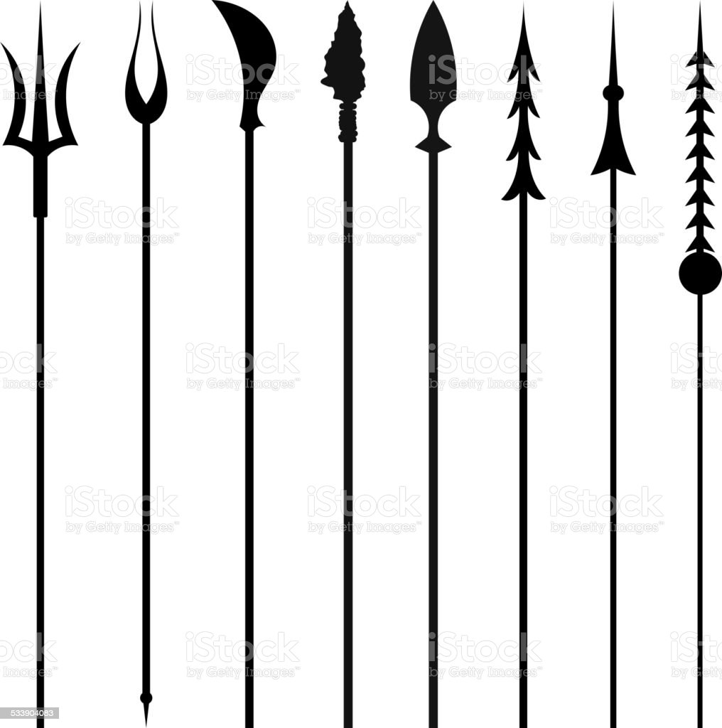 Set mines and tridents isolated on white background. Vector illu vector art illustration