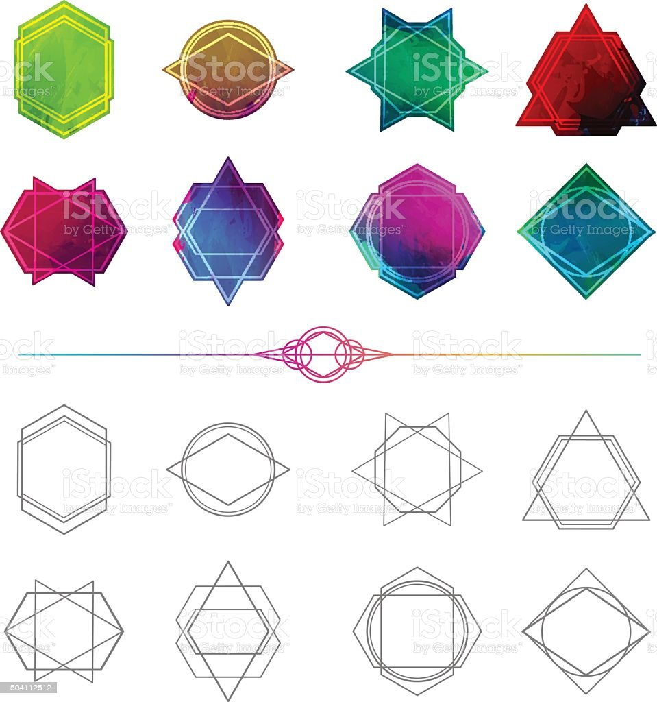 Set Minimalist Abstract Geometric Symbols And Logos Royalty Free