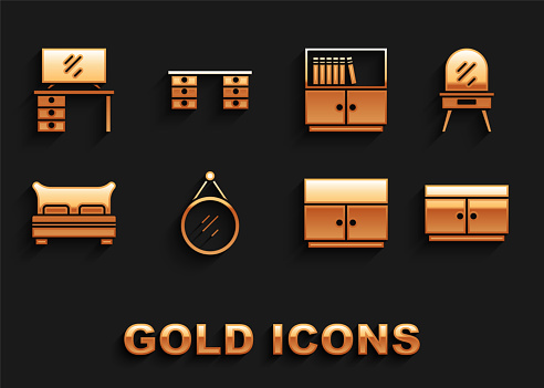 Set Mirror, Dressing table, Chest of drawers, Wardrobe, Big bed, Library bookshelf, TV stand and Office desk icon. Vector