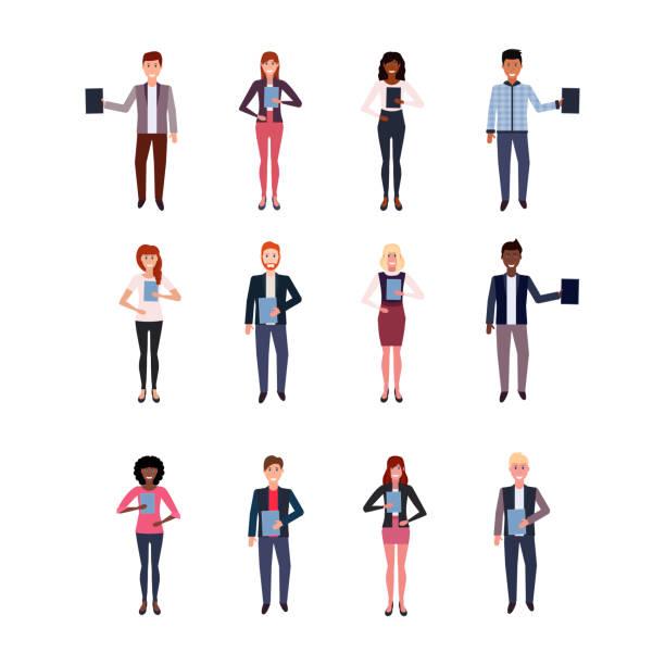bildbanksillustrationer, clip art samt tecknat material och ikoner med ställa in mix race affärsmän hålla mappen lycklig kvinna kontorsarbetare samling manliga kvinnliga tecknad karaktär full längd isolerad platta - helkroppsbild