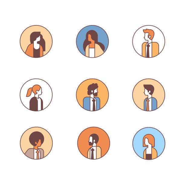 illustrations, cliparts, dessins animés et icônes de mix set course personnes avatar profil homme femme bureau travailleurs concept cartoon mâle femelle caractère portrait collection secteur isolé - entrepreneur