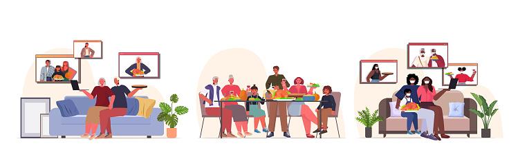set mix race people celebrating happy thanksgiving day online communication self isolation coronavirus quarantine