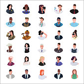 set mix race people different occupations face avatar collection white background male female cartoon character portrait flat vector illustration