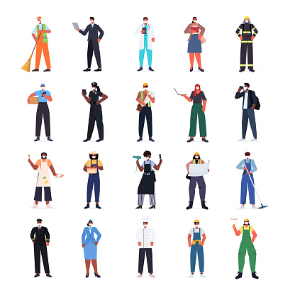 set mix race people of different occupations wearing masks to prevent coronavirus pandemic labor day celebration