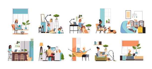 stockillustraties, clipart, cartoons en iconen met set mix race vrouwen freelancers met behulp van laptop werken thuis tijdens coronavirus quarantaine freelance - thuiswerken