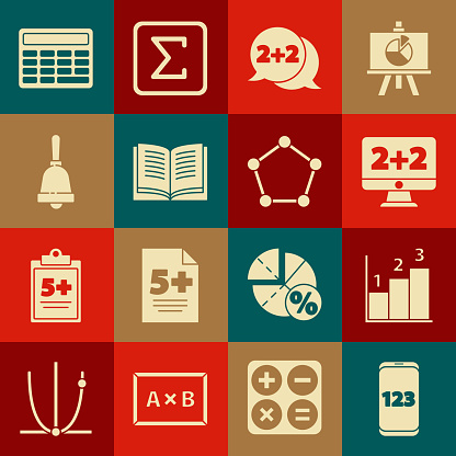 Set Mobile calculator interface, Graph, schedule, chart, diagram, Equation solution, Open book, Ringing bell, Calculator and Geometric figure Pentagonal prism icon. Vector
