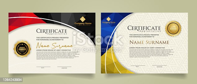 Set modern certificate template with triangle geometric polygon on circular lines ornate background