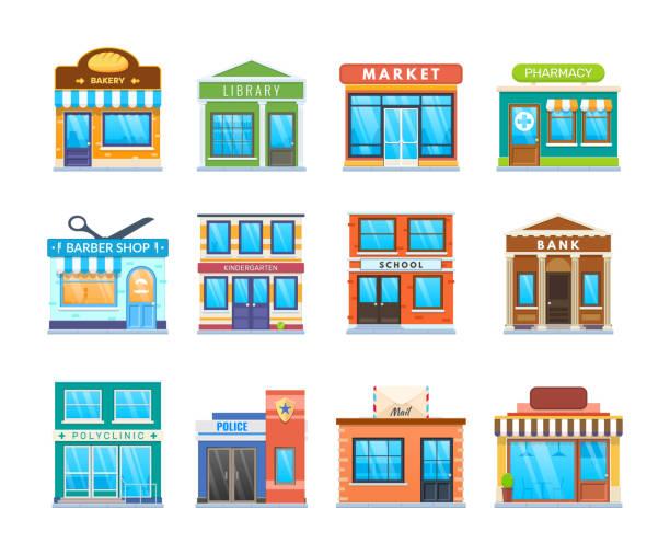 moderne stadt gebäude fassade gesetzt. stadtstraße gebäude. stadtlandschaft - gastronomiebetrieb stock-grafiken, -clipart, -cartoons und -symbole