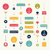 Set modern flat download buttons. Colorful shapes, arrows, pictogram. Vector illustration for infographic.