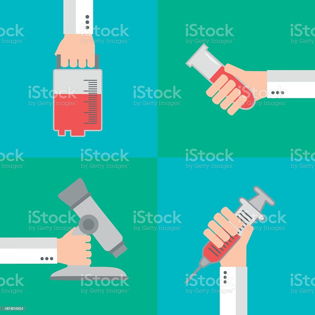 Set  Modern Medical flat background with hand vector art illustration