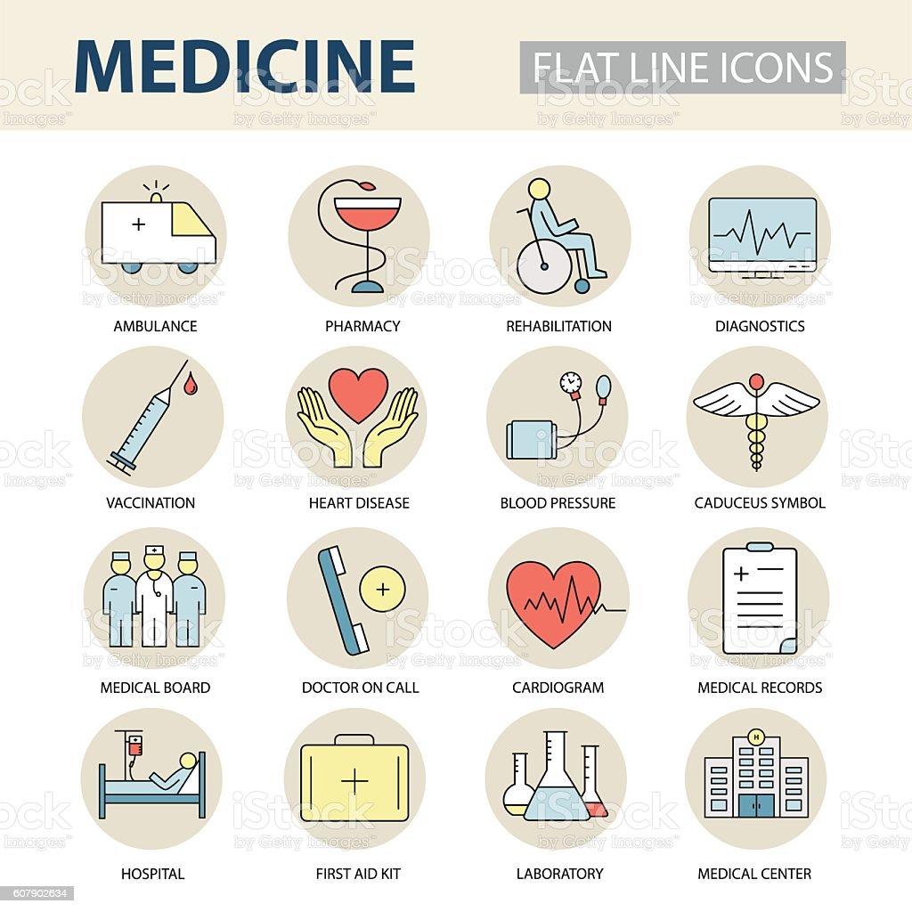 Set modern thin line icons on medicine and health symbols. vector art illustration