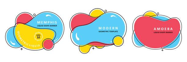 ilustrações, clipart, desenhos animados e ícones de molde moderno ajustado do vetor. projeto do ameba do mosaico. ondas coloridas abstratas. vetor moderno. - organic shapes