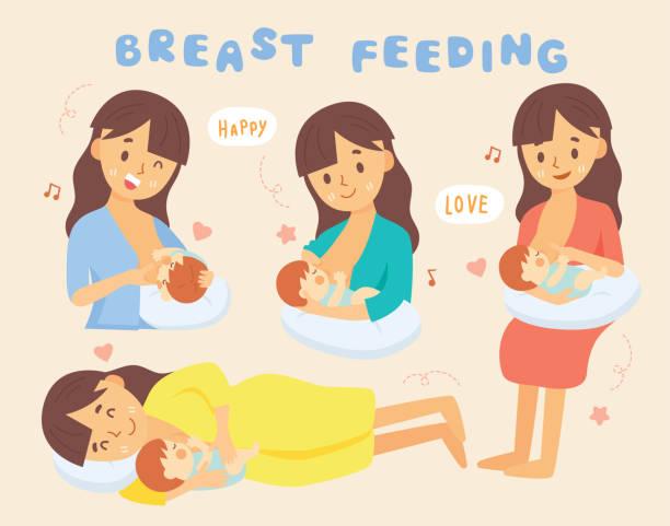 ilustrações de stock, clip art, desenhos animados e ícones de set mom breastfeeding - amamentação