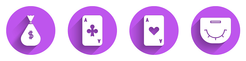 Set Money bag, Playing card with clubs, Playing card with heart and Poker table icon with long shadow. Vector