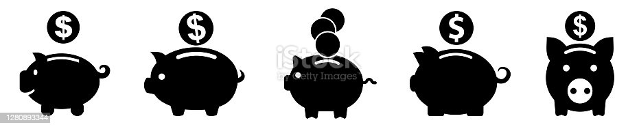 Set money box, accumulation money, savings, pig with coin icon - stock vector