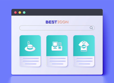 Set Monitor with keyboard, Man hat and T-shirt icon. Vector