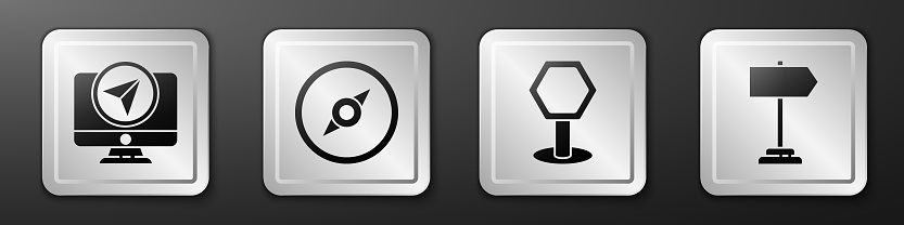 Set Monitor with location marker, Compass, Road traffic sign and Road traffic sign icon. Silver square button. Vector