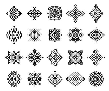 Set monochrome ethnic ornament vector illustration. Collection classical tribal aztec tattoo design