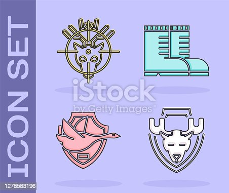 Set Moose head on shield, Hunt on deer with crosshairs, Flying duck on shield and Hunter boots icon. Vector