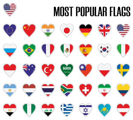 Set most popular flags in heart with shadow and white outline